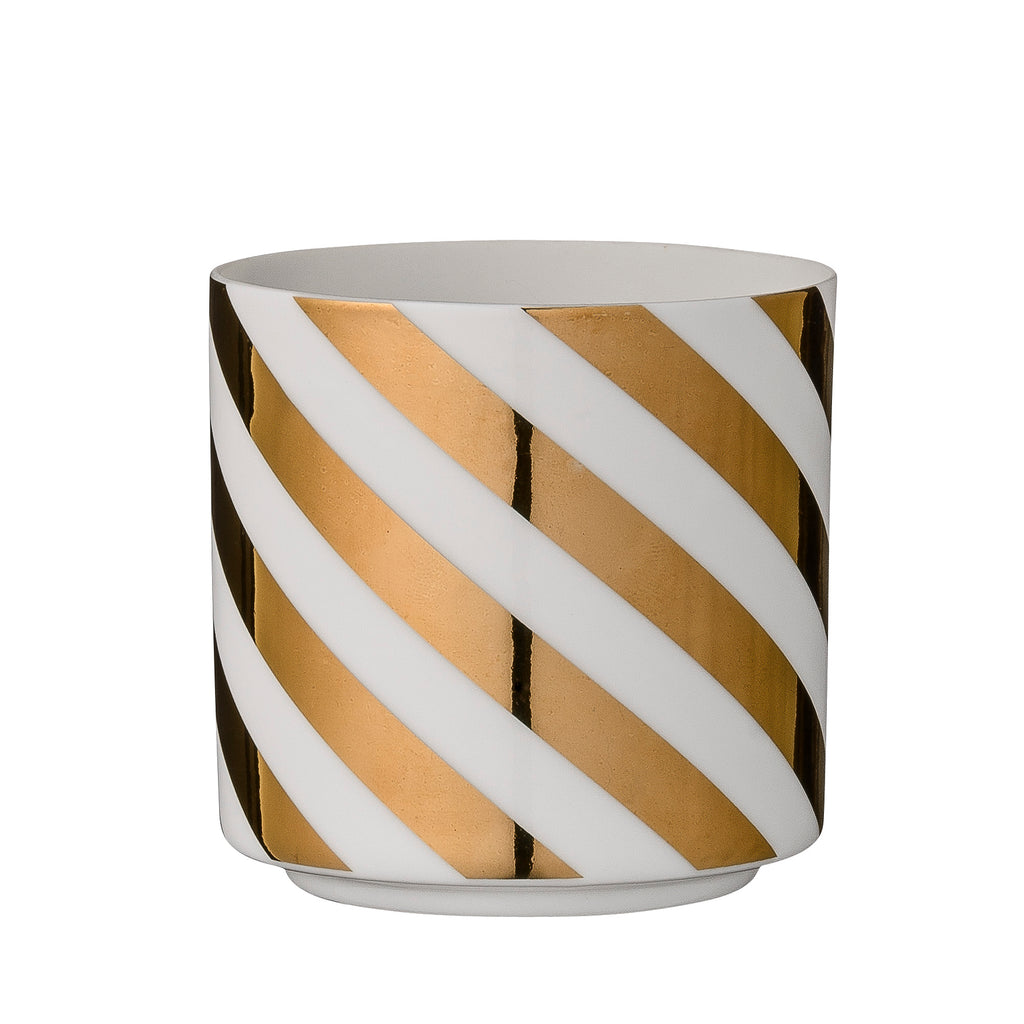 White And Gold Stripe Tealight