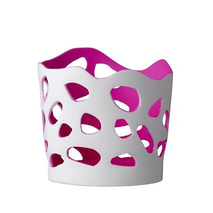 white hole votive with neon pink insert