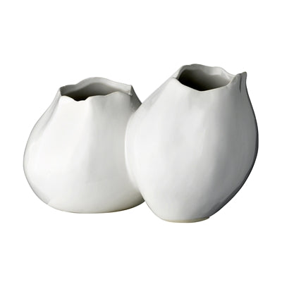 Double White Ceramic Vase