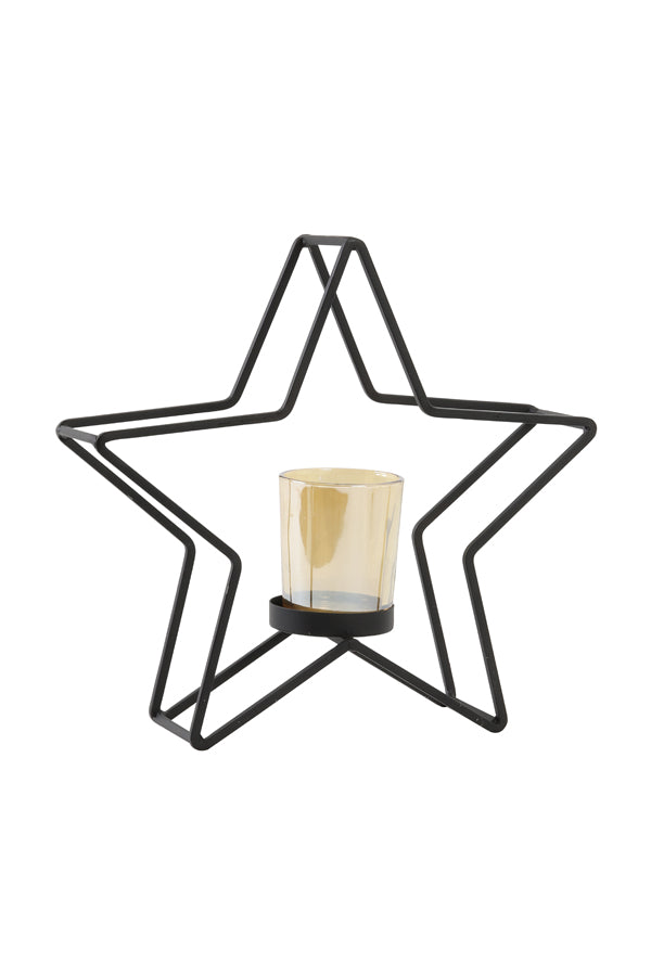 Star Tea Light Stand Black
