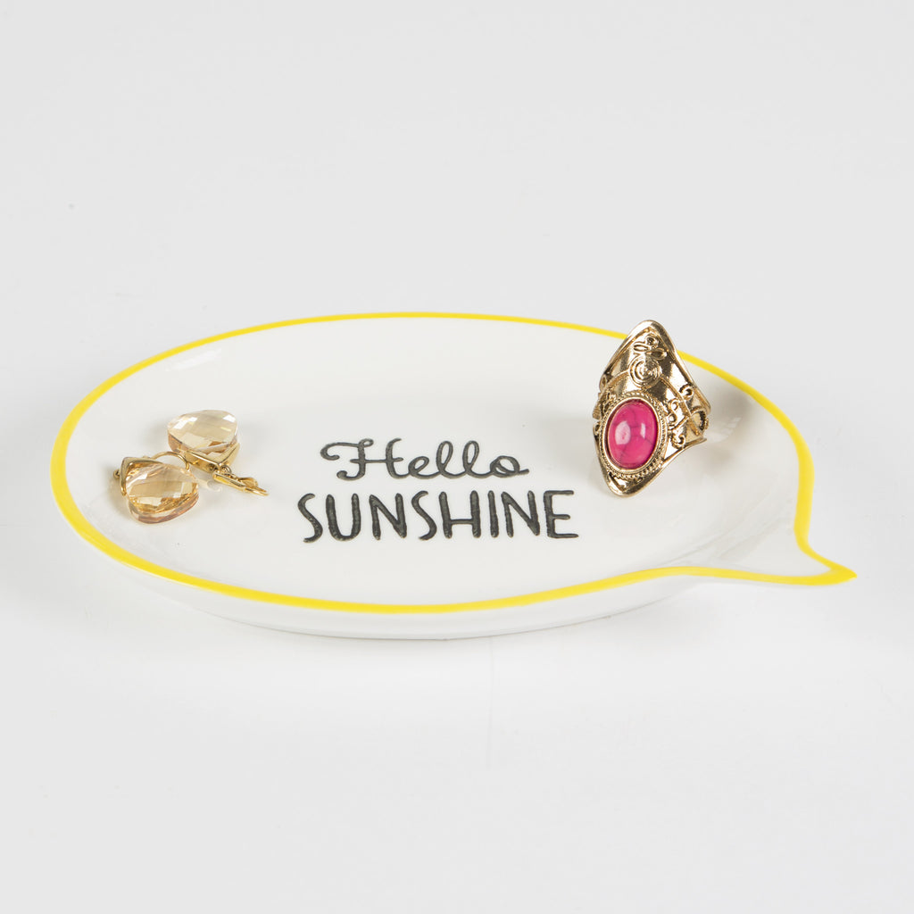 hello sunshine speach bubble jewellery dish with yellow outline