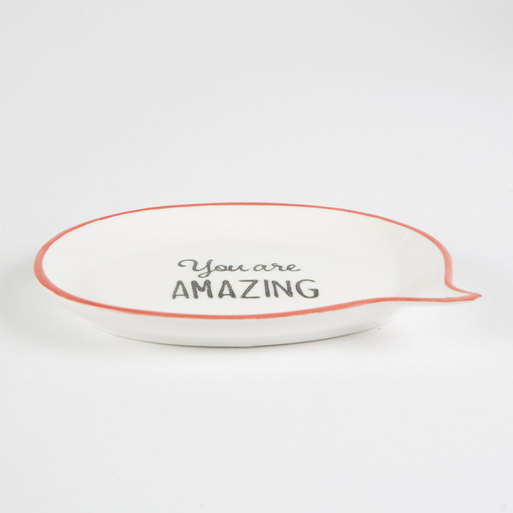 you are amazing speach bubble jewellery dish with red outline