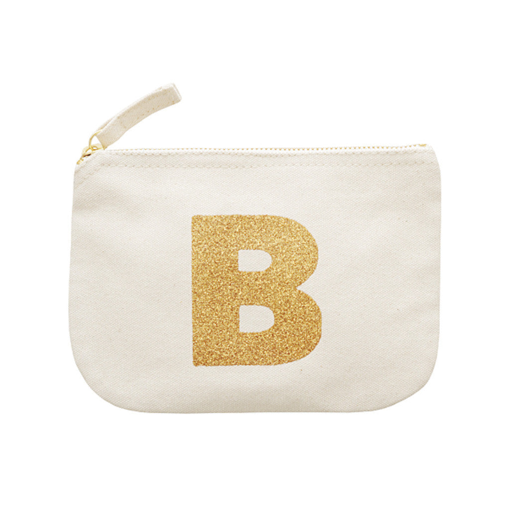 letter glitter pouch B canvas accessories