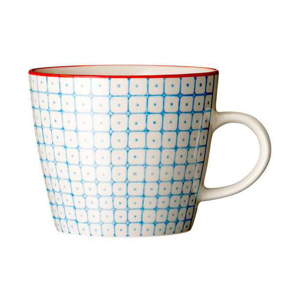 carla square pattern mug blue with red rim