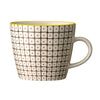 carla square pattern mug brown with yellow rim