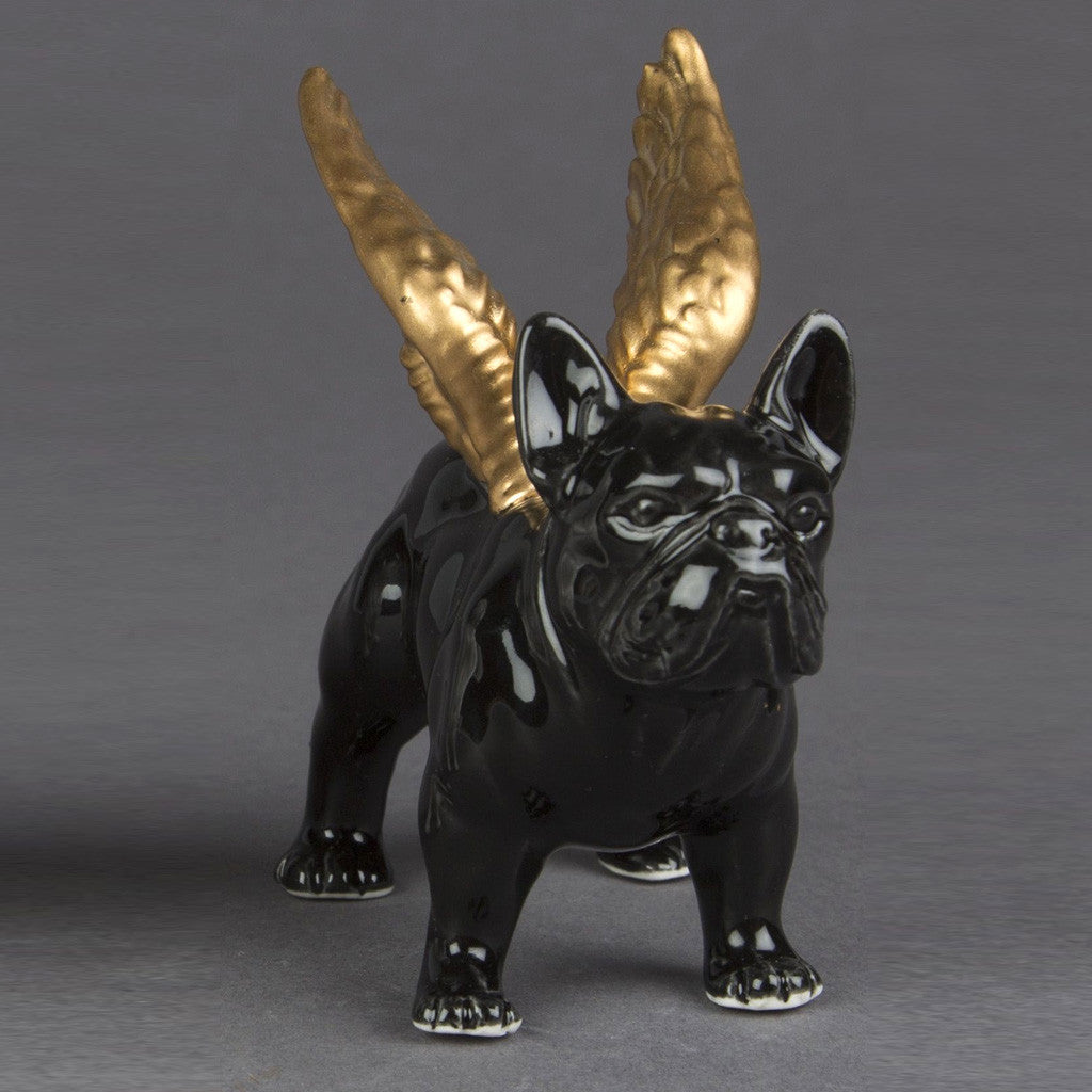 winged bulldog black ornament homeware