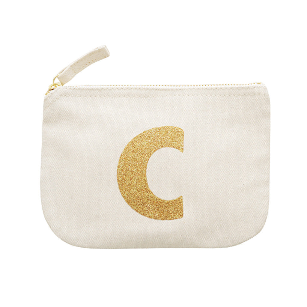 letter glitter pouch C canvas accessories