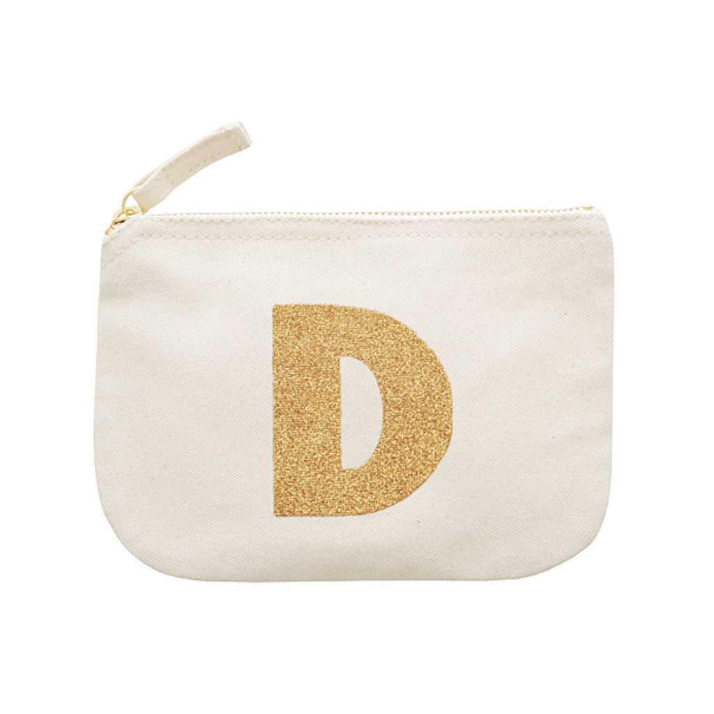 letter glitter pouch D canvas accessories