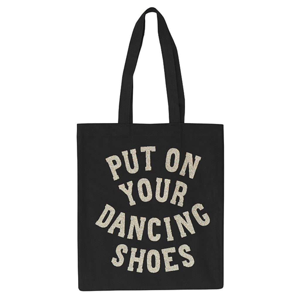 dancing shoes black canvas bag silver glitter accessories