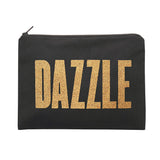dazzle black pouch gold glitter canvas accessories