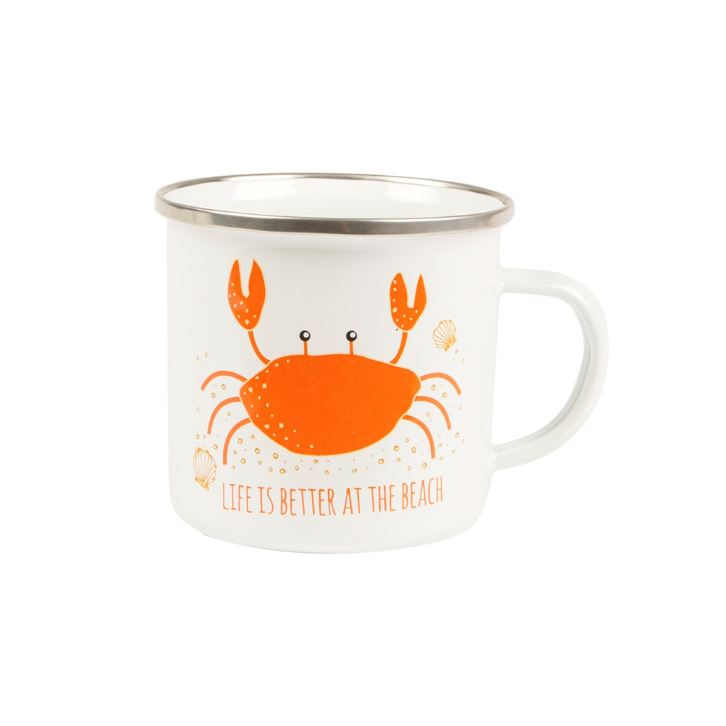 Crab Life Better at Beach Enamel Mug
