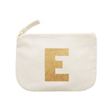letter glitter pouch E canvas accessories