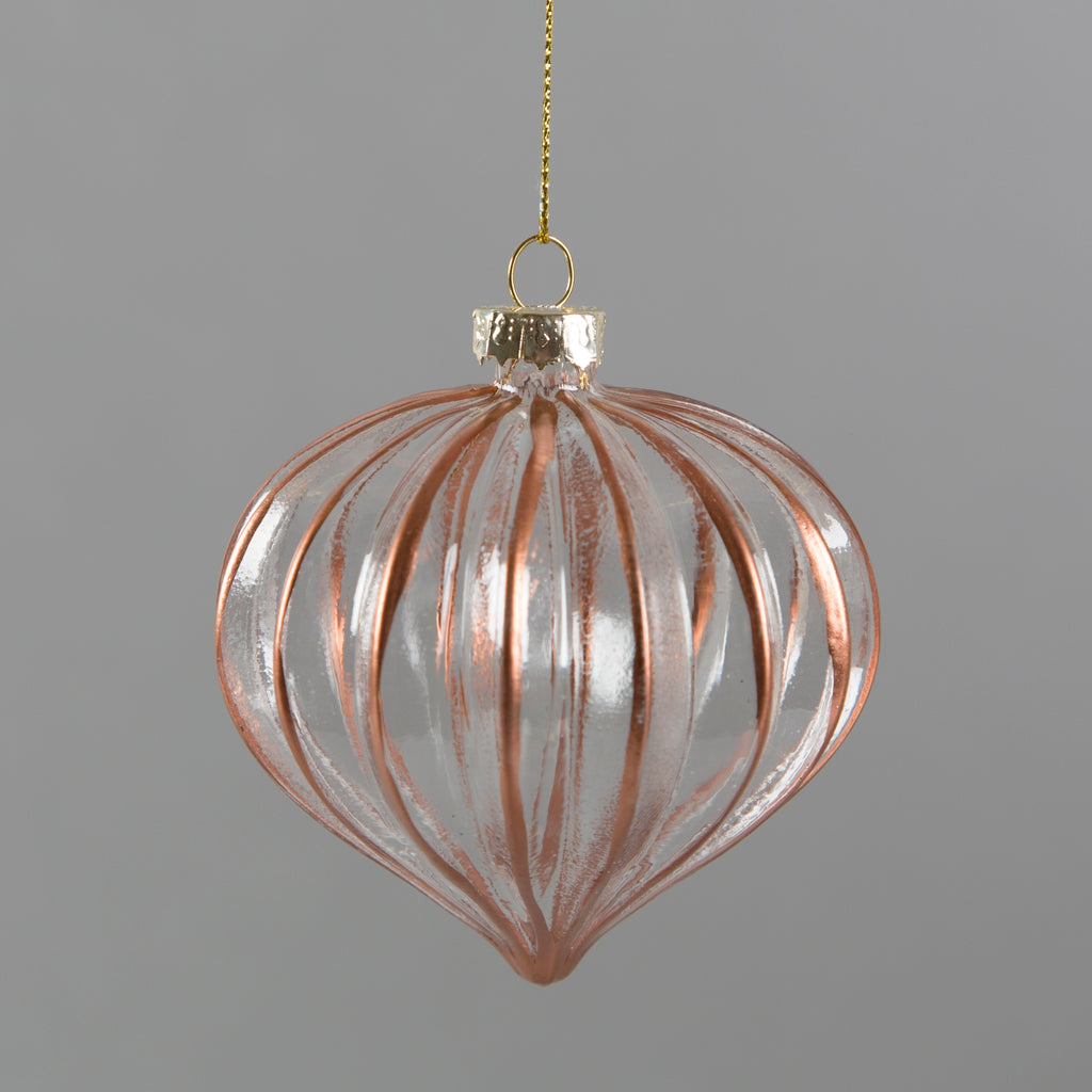 Copper Edge Droplet Glass Bauble