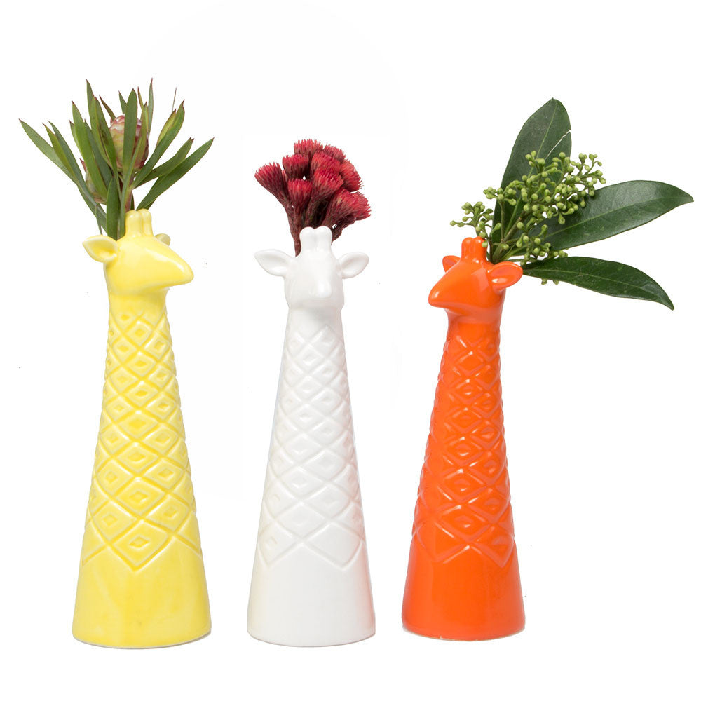 giraffe vase yellow/white/orange