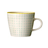 carla square pattern mug green with yellow rim