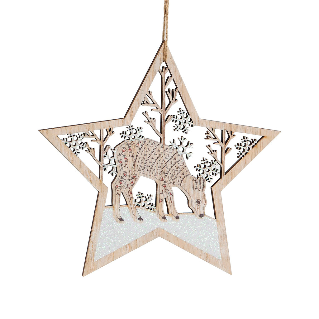 Winter Forest Folk Deer Wooden Star Hanging Decoration
