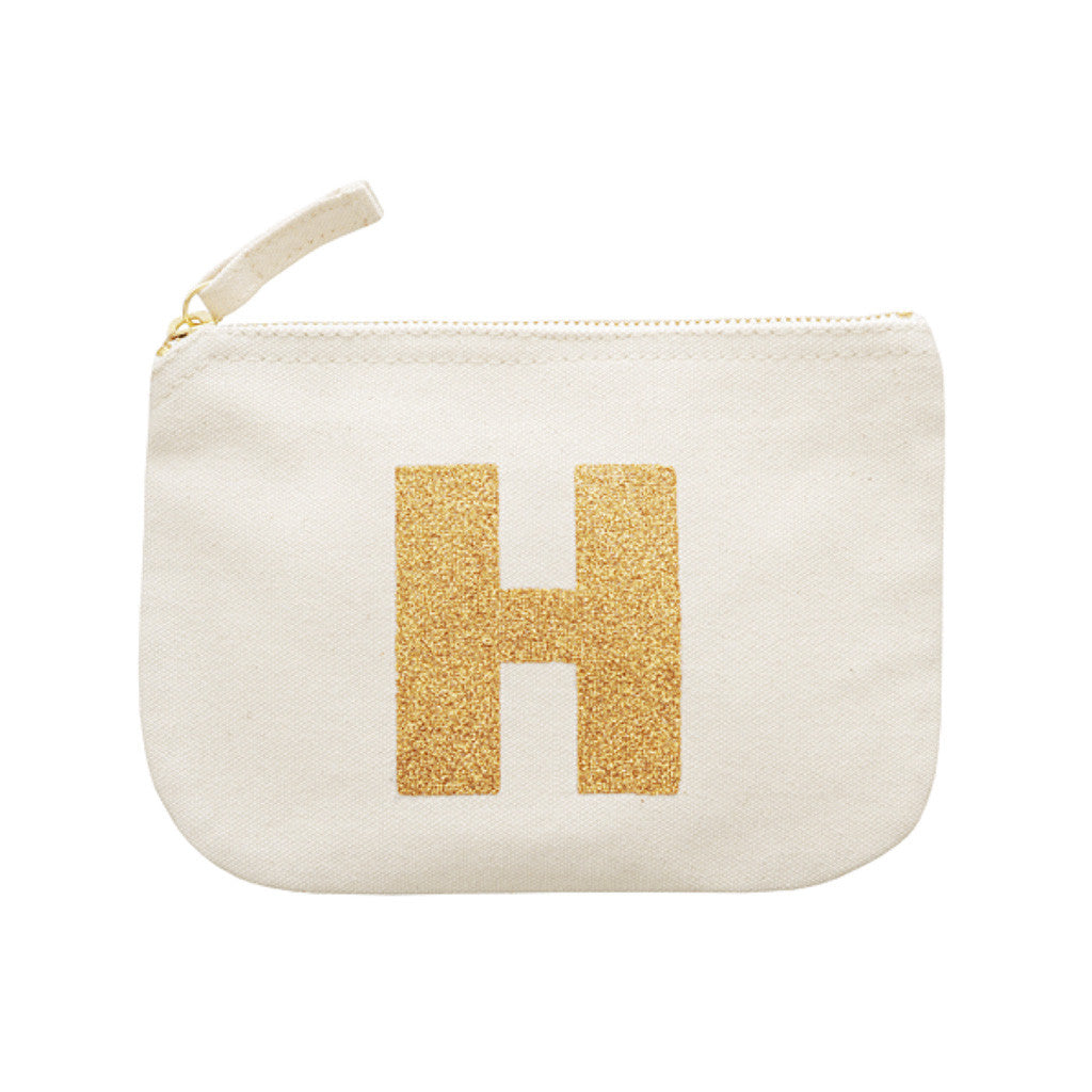 letter glitter pouch H canvas accessories