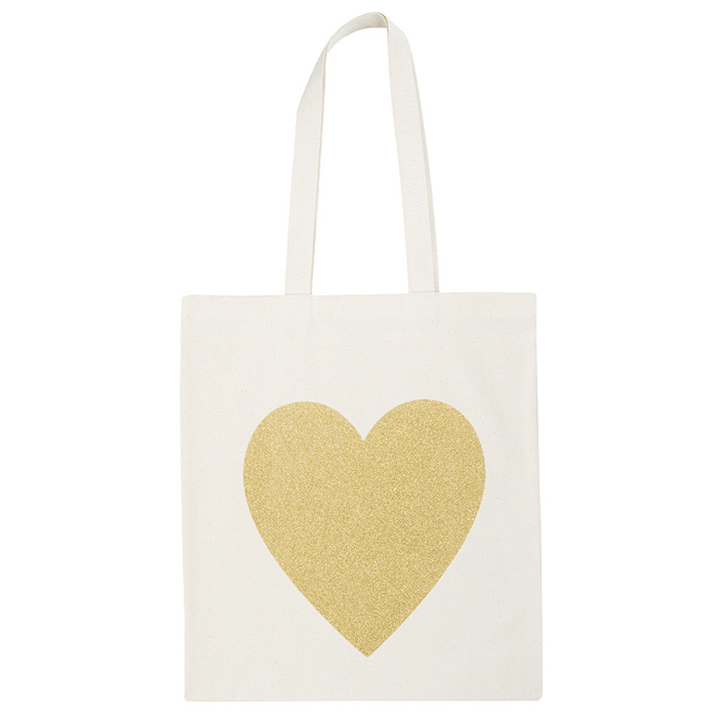 heart canvas bag gold glitter accessories