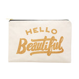 hello beautiful large pouch gold glitter canvas accessories