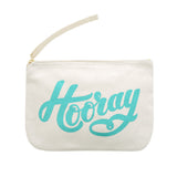 hooray small pouch canvas turquoise accessories