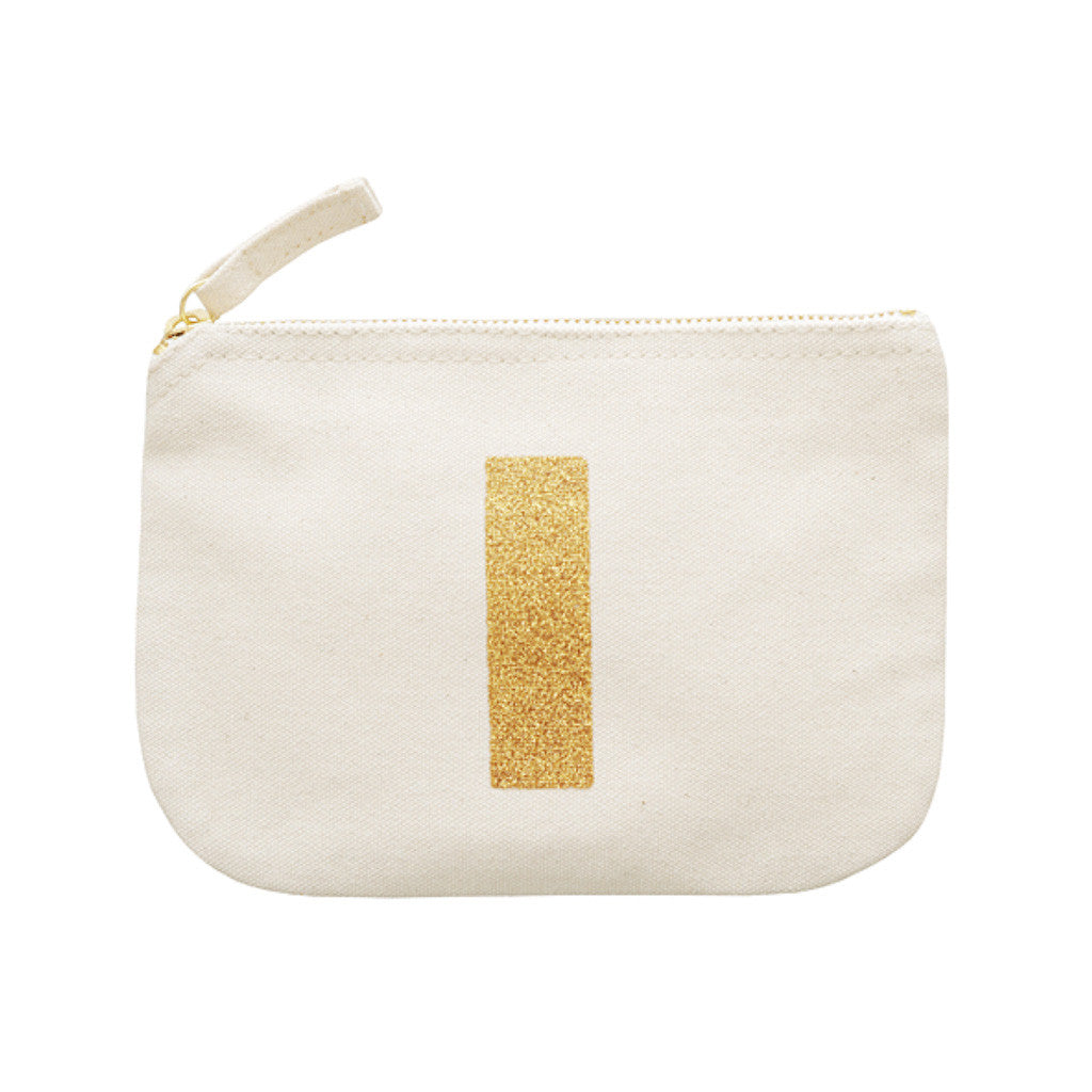 letter glitter pouch I canvas accessories