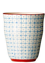 carla square pattern cup blue with red rim