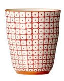 carla square pattern cup red with orange rim