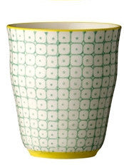 carla square pattern cup green with yellow rim