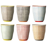 carla square pattern cups brown/black/blue/green/red/orange