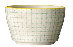 carla square pattern bowl green with yellow rim