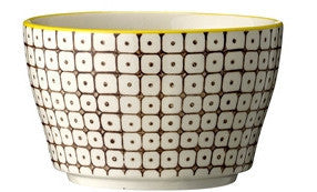 carla square pattern bowl brown with yellow rim