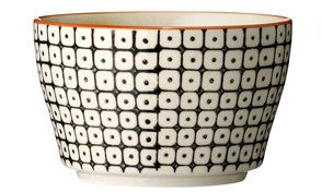 carla square pattern bowl black with orange rim
