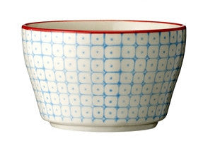 carla square pattern bowl blue with red rim