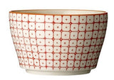 carla square pattern bowl red with orange rim