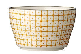 carla square pattern bowl ornage with black rim