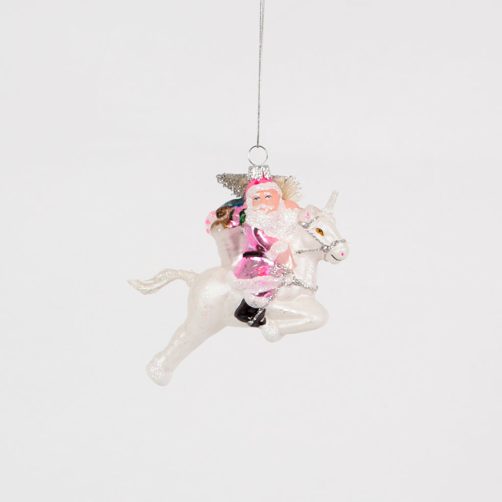 Santa On Unicorn Bauble