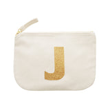 letter glitter pouch J canvas accessories