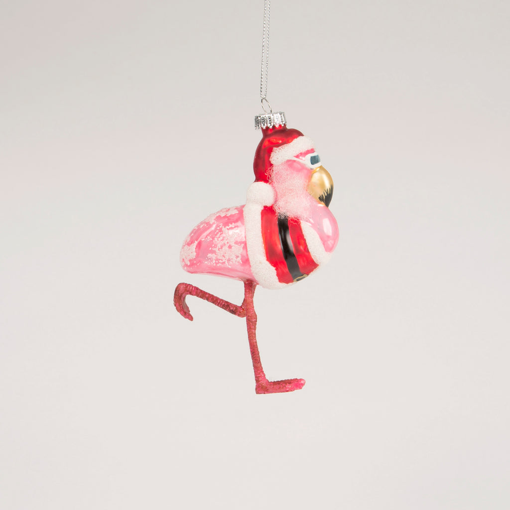 Flamingo Santa Bauble