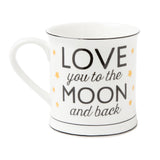 love you to the moon and back gold star mug