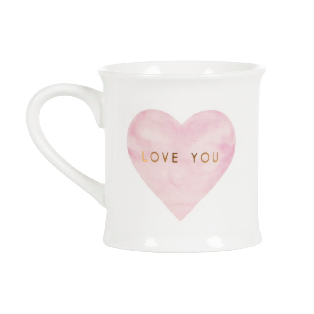 Love You Pink Heart Mug