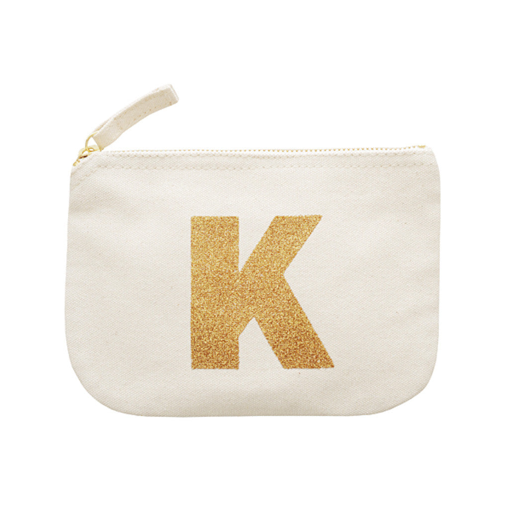 letter glitter pouch K canvas accessories