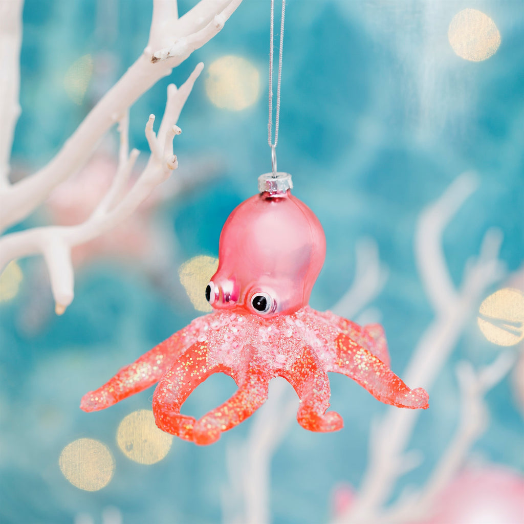 Pink Glitter Octopus Shaped Bauble