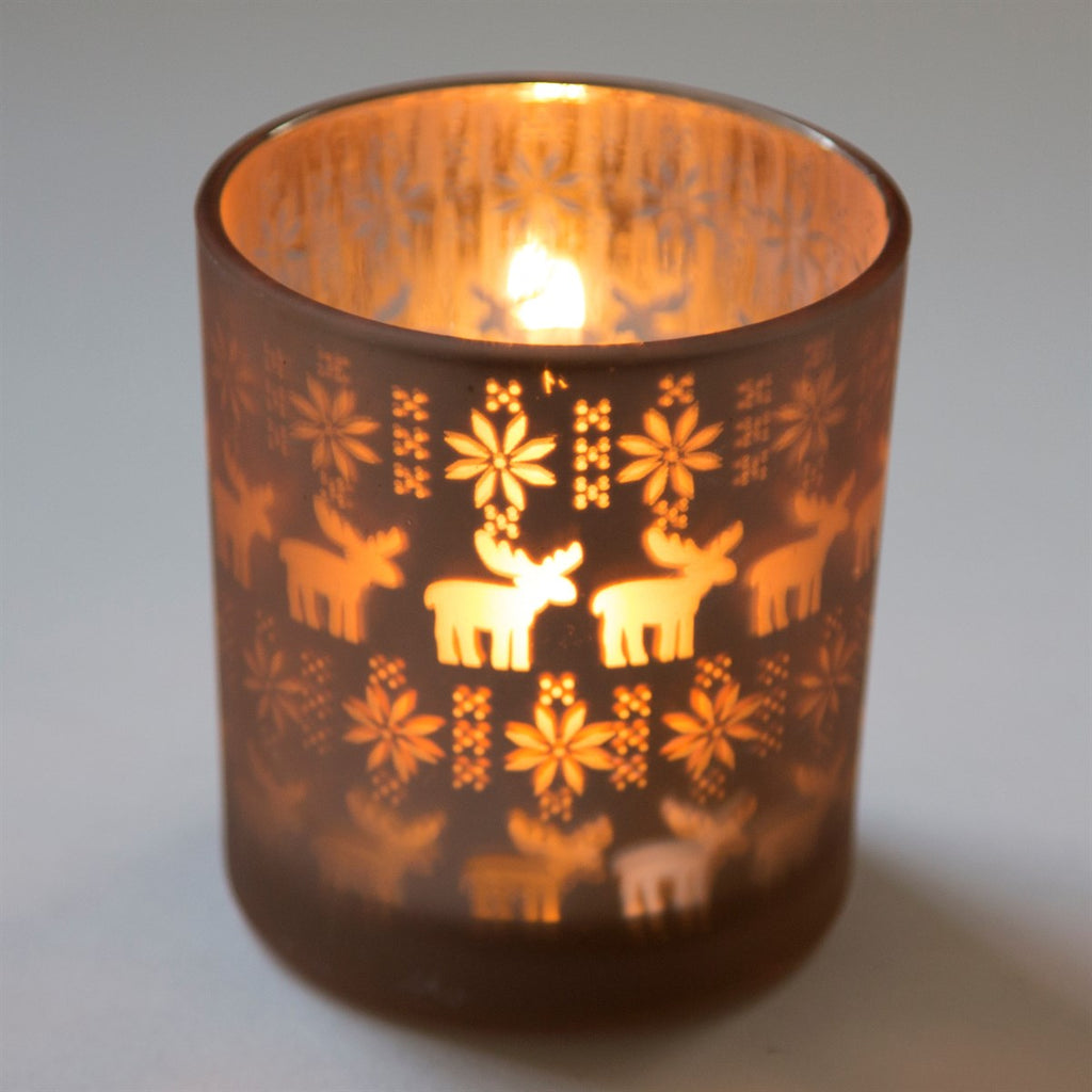 Reindeer Scene Tealight Holder