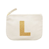 letter glitter pouch L canvas accessories