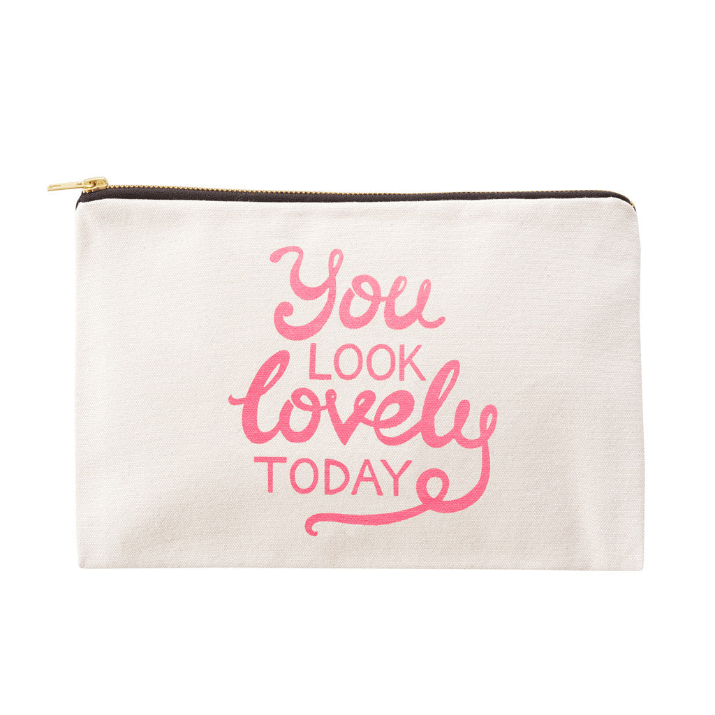 you look lovely today large canvas pouch pink accessories