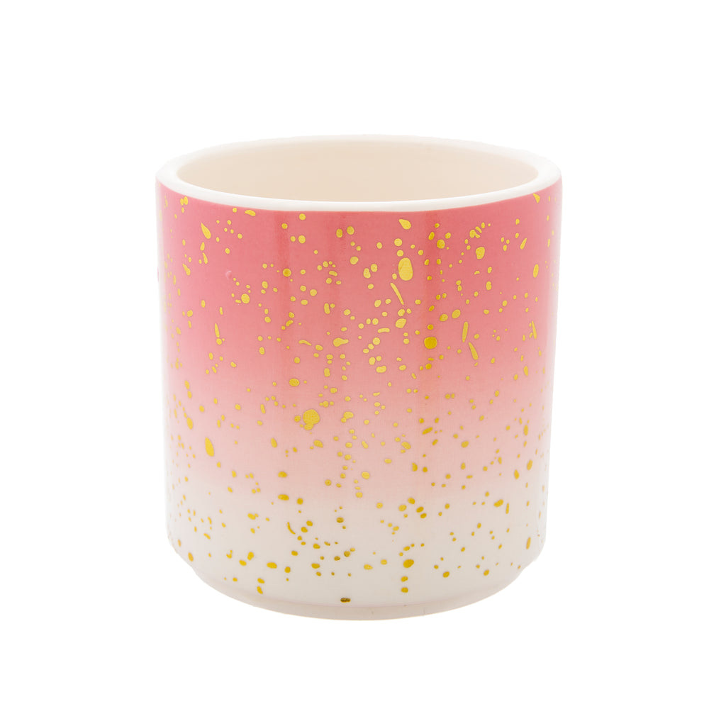 Ombre Pink Planter With Gold Specks
