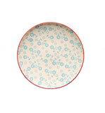 floral stamped plate blue eating and drinking