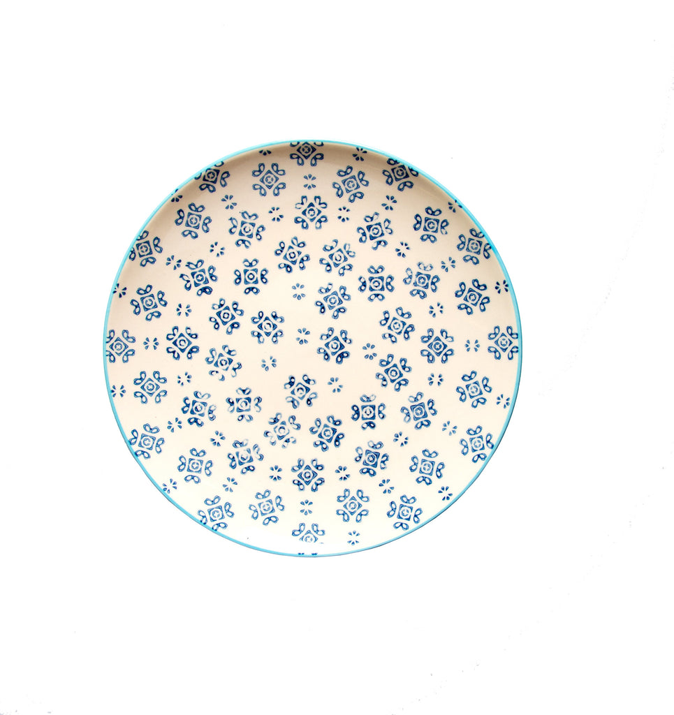 floral stamped plate navy eating and drinking