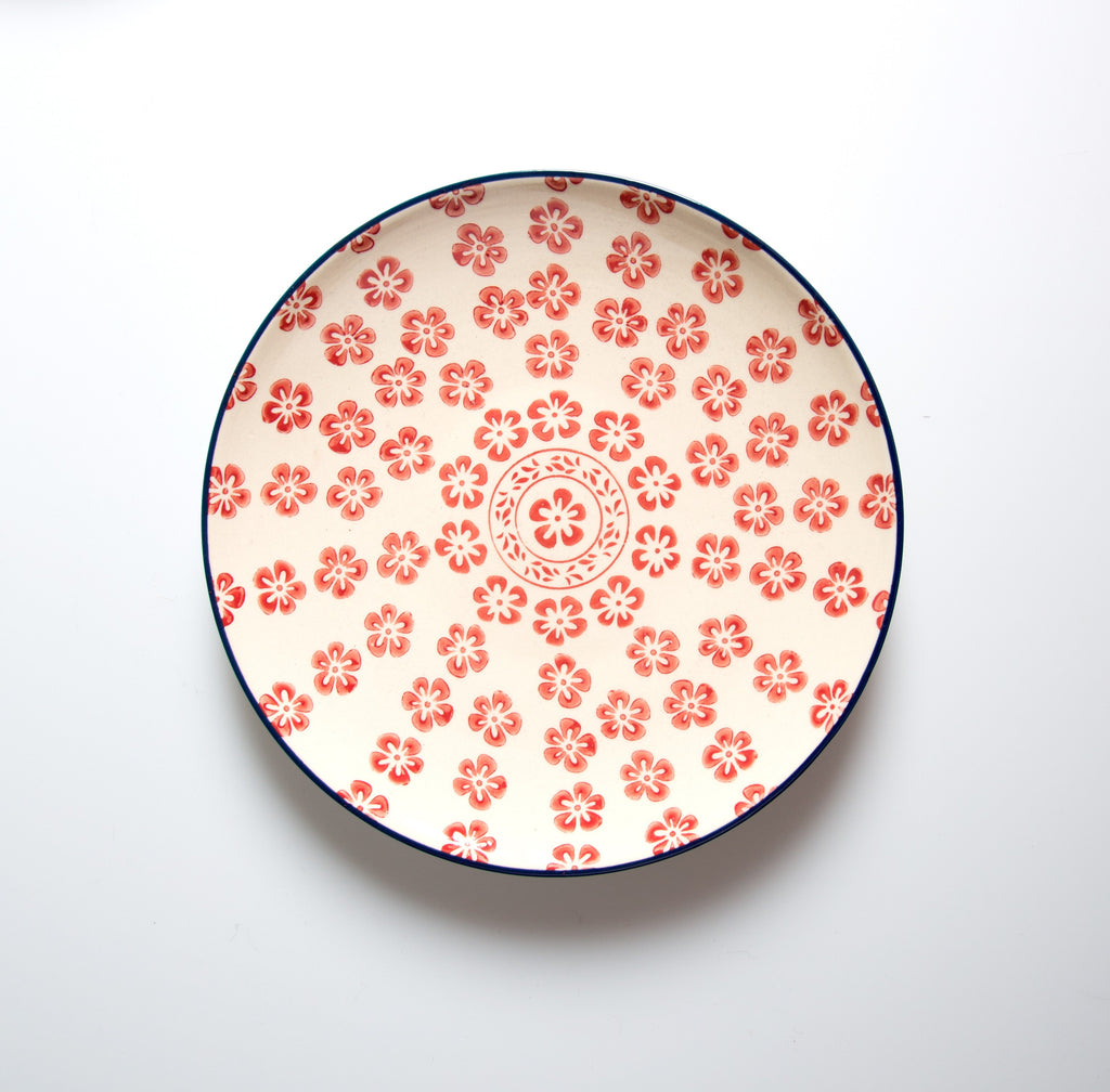 floral stamped plate red eating and drinking