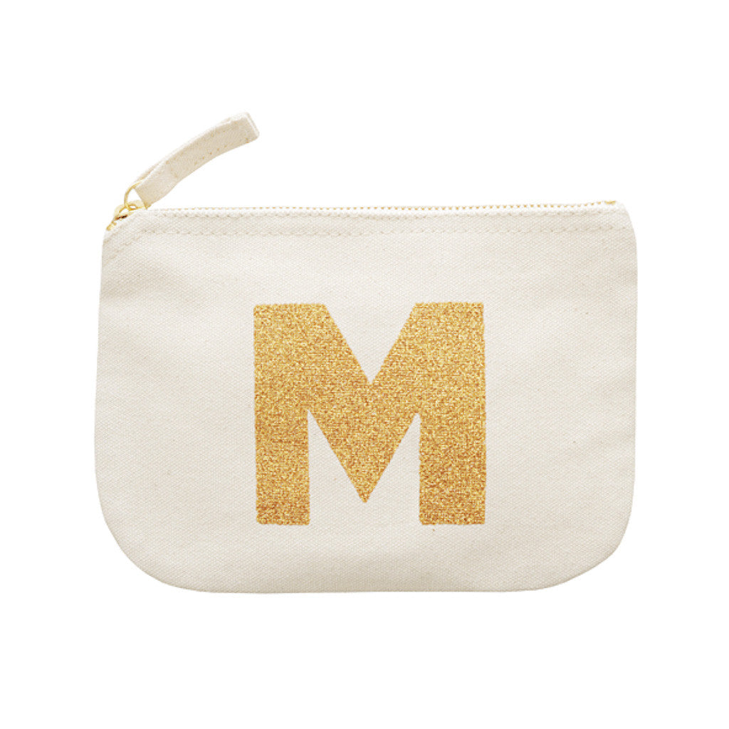 letter glitter pouch M canvas accessories